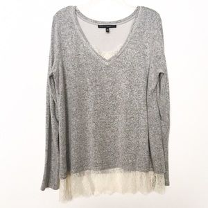 WHBM Gray & Ivory Lace Trim Long Sleeve Blouse